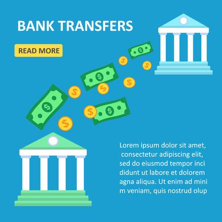 transfers: Vector illustration. Banks wireless money transfer. Online transfers between banks. Flat design. Illustration