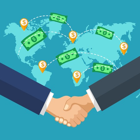Handshake of business people on the background of the map. Two hands on a background map of the world. Transferring Money and payment concept.