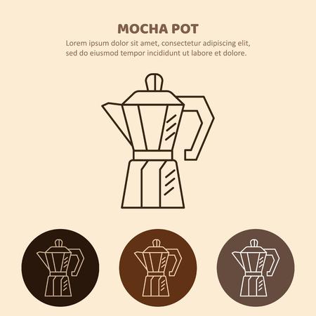 Icona del contorno di caffettiera. Elettrodomestici isolati su sfondo colorato. Illustrazione pentola moka.