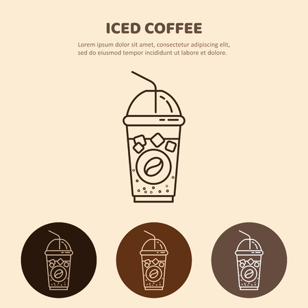 Iced Drink vector icon. Linear restaurant, shop pictogram.