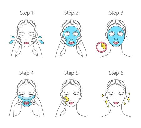 Étapes à suivre pour appliquer le masque facial en feuille. Infographie pour l'industrie de la beauté. Illustration de la ligne vectorielle