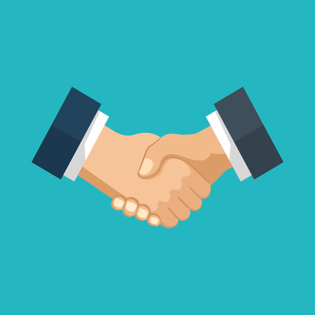 legal contract: Handshake of business people. Two hands, business concept.   Modern flat design graphic elements for web banners, web sites, infographics. Illustration