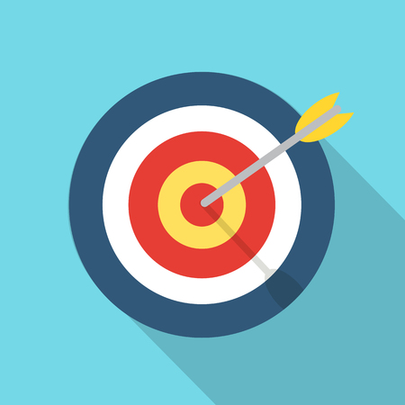 Target with an arrow flat icon concept market goal vector picture image. Concept target market, audience, group, consumer. Bullseye or goal Isolated sign. Illustration of a target with an arrow. Illustration
