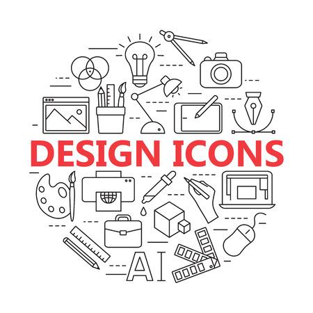 Pictogrammen voor het afdrukken en grafisch ontwerpen. Stock Illustratie