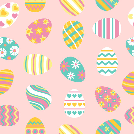 Easter seamless pattern with painted eggs. Illustration