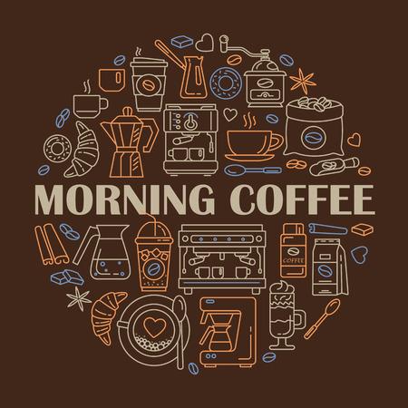 Overzicht web pictogram set. Elementen - Mocha Pot, Koffiemolen, Latte, Vending, Plant, Ijskoffie, Kopje, Cezve, Koffiemachine Vector lijn iconen van koffiezetapparaat