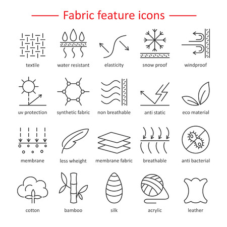 Fabric and clothes feature line icons. Linear wear labels. Elements - cotton, wool, waterproof, uv protection, breathable fiber and more. Textile industry pictograms with editable stroke for garments. Vettoriali
