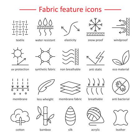 Le tissu et les vêtements comportent des icônes de ligne. Étiquettes d'usure linéaire. Éléments - coton, laine, imperméable à l'eau, protection UV, fibres respirantes et plus encore. Pictogrammes de l'industrie textile avec course modifiable pour les vêtements.
