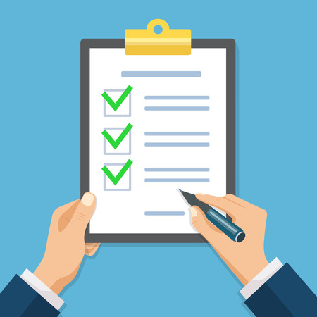Male hand signing document. Hand filling checklist on clipboard. Form illustration with man signing a paper work document.  Modern flat design concept for web banners, web sites, infographics. 矢量图像