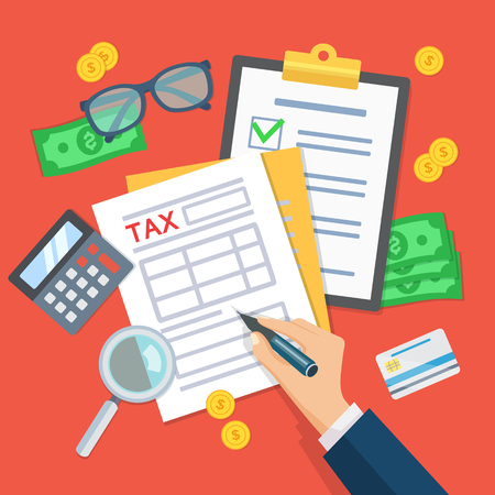 Tax payment. Man works with financial documents. Data analysis, paperwork, financial research report businessman calculation tax. Human hands hold tax form. Payment of debt. Top view Vector.  イラスト・ベクター素材
