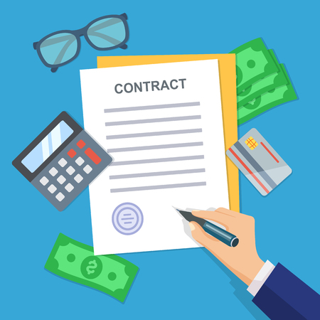signing papers: Contract signing. A male hand signs. Modern concept for web banners, web sites, infographics. Workplace with papers, blanks, money, credit cards, glasses, coins, calculator Top view Vector