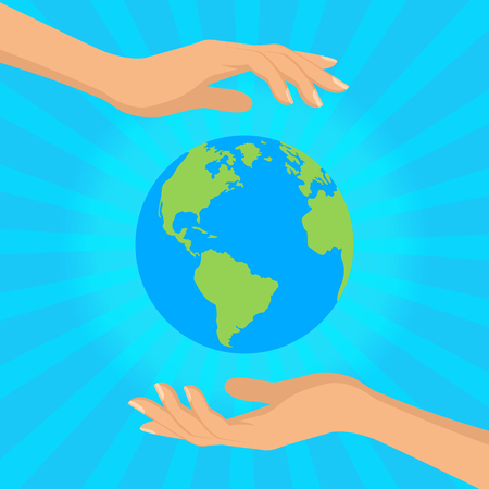 Save our planet consept. Human hands holding floating globe in space. Flat style vector isolated illustration for Earth day.