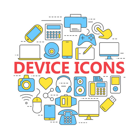 game drive: Electronic devices thin line icons. Set vector line icons for mobile concepts and web apps.