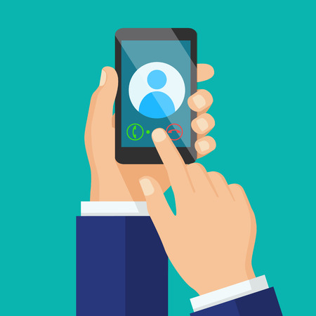 hand holding smart phone: Receiving phone call concept. Dialling, calling on the mobile phone. Hand holding smart phone in modern flat style design. Illustration