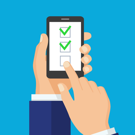Checkboxes on smartphone screen. One hand holds smartphone and finger touch screen. Checkboxes and checkmarks. Modern concept for web sites, infographics. Flat design vector illustration.