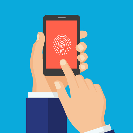 Hands Scan Security consept.Hand holding smart phone with fingerprint on the screen. Business Man Touch Screen. Flat Vector Illustration.