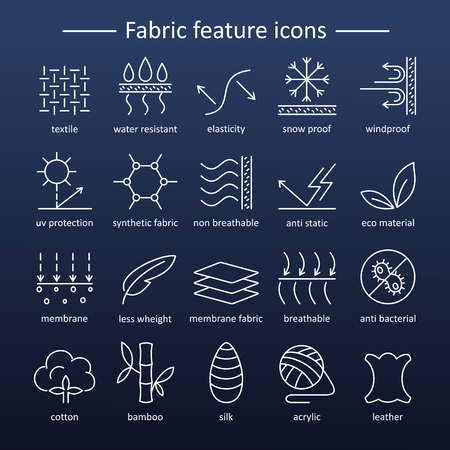Fabric and clothes feature line icons. Linear wear labels. Elements - cotton, wool, waterproof, uv protection, breathable fiber and more. Textile industry pictograms with editable stroke for garments.