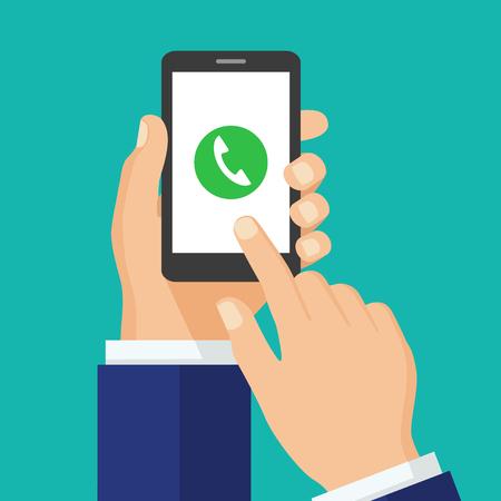 スマート フォンの画面に電話のボタン。 携帯電話の概念。スマート フォンは、画面に触れて指を持つ手。呼び出しに応答します。創造的なフラッ