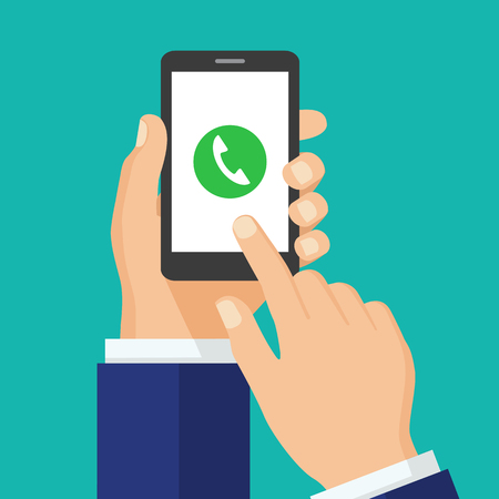Phone call button on smartphone screen.  Mobile phone call consept. Hand holding smartphone, finger touching screen. Answer the call. Creative flat design vector illustration.