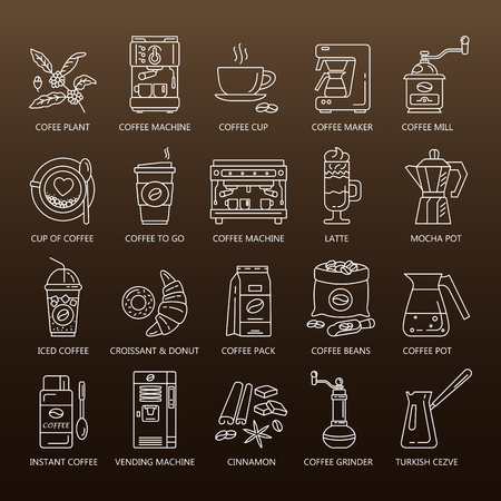 Outline web icon set . Elements - mocha pot, coffee mill, latte, vending, plant, iced coffe, cup.