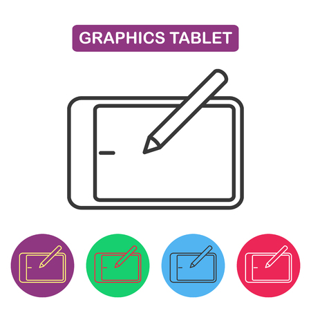 wacom: Vector graphics tablet icon. Gaget imaige. Simple thin line icon for websites, web design, mobile app, infographics.