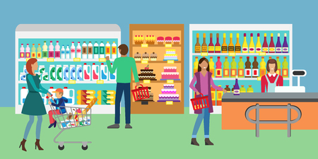 mujer en el supermercado: Concept banner for Shop. People in supermarket, family shopping. Customers service and working process in supermarket. Store assortment.