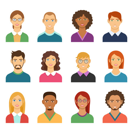 Set of diverse man and woman avatars. Flat design people characters. Male and Female icons different characters and race for avatars in social networks, and communication interface. Vector faces. Illustration
