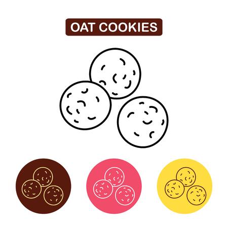 Hafer-Plätzchen-Ikone. Biscuit Symbol Produkte Bild. Umriss Vektor-Logo-Abbildung. Trendy Einfache Vektor-Illustration isoliert für Grafik-und Web-Design, für Süßwaren-Shop oder Café.