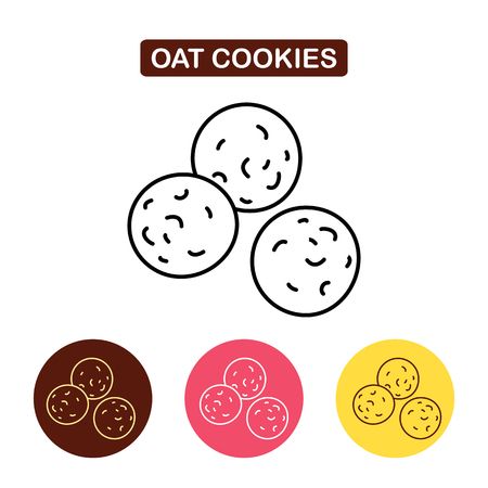 Oat Cookie Icon. Biscuit symbol products image. Outline vector Logo illustration. Trendy Simple vector Illustration isolated for graphic and web design, for confectionery shop or cafe.