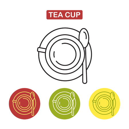 Cup icon. Mug with a spoon. Top view. Tea time image. Outline style image. Trendy vector Illustration isolated for graphic and web design.