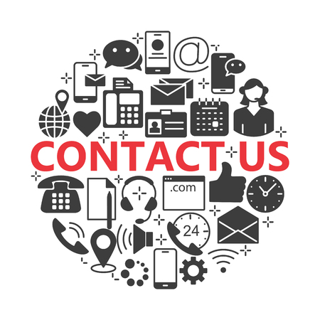 Contact us icons. Support concept set.
