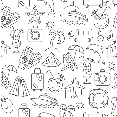 gamp: Vector illustration of seamless pattern with summer symbols