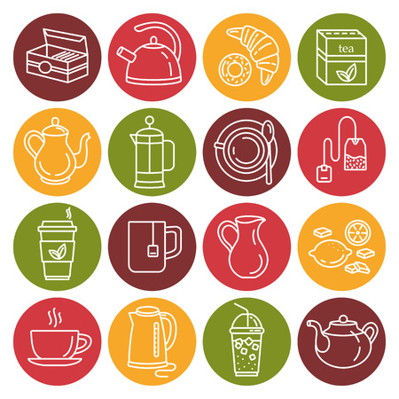 Tea. Outline web icon set. Illustration