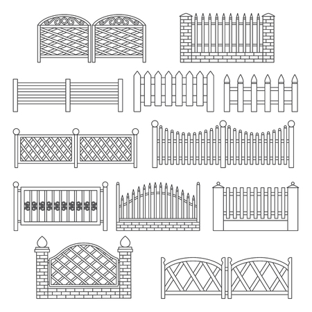Fence icons. Fence line Icon Set Isolated on a White Background. Barrier for Protection Garden, House and Farm. Icons for web and graphic design. Line style logo. Vector illustration.
