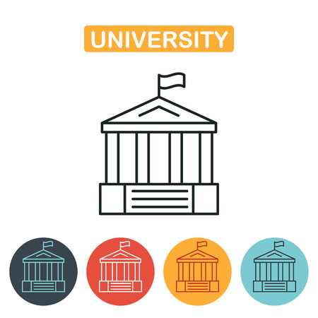 roman column: University icon. Vector, solid illustration, pictogram isolated on white. Education icon for web and graphic design. Line style logo. Vector illustration.