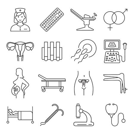Vector gynecology symbols icon set. Illustration