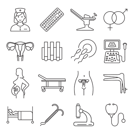Vector gynecology symbols icon set. Illustration