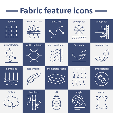 Fabric feature line icons. Pictograms with editable stroke Illustration