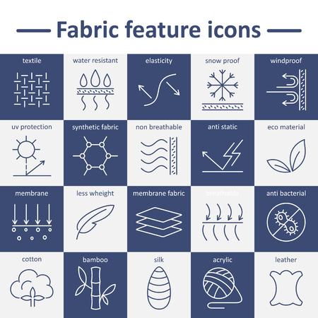 Icônes de trait caractéristique de tissu. Pictogrammes avec trait modifiable