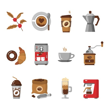 contemporary taste: Coffee icons isolated on white background. Flat design modern vector illustration of icons for coffee shop and restaurant. Equipment coffee maker. Vector illustration. Illustration