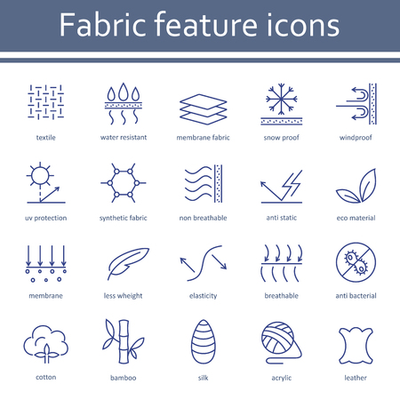 Fabric and clothes feature line icons. Vectores