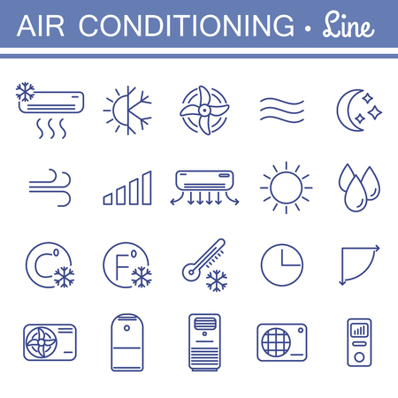 Simple set of air conditioning vector icons for your design. Çizim