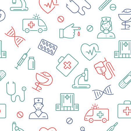 Seamless pattern with medical symbols. Medicine and Health icons for info graphics.
