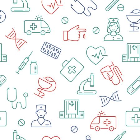 Seamless pattern with medical symbols. Illustration