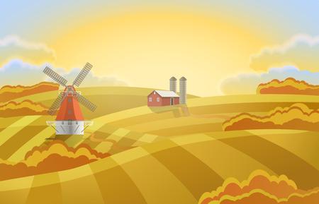 Ferme avec des champs verts. Paysage rural un moulin.
