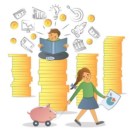 Concept d'alphabétisation financière. Banque d'images - 84949729