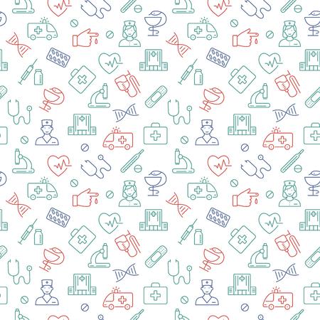Seamless pattern with medical symbols. Vector illustration. Illustration