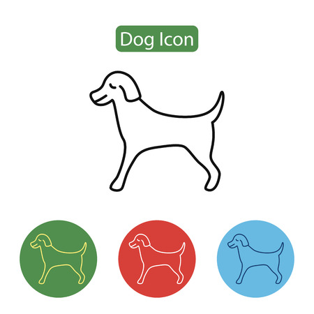 Pet dog line icon on white background, vector illustration.