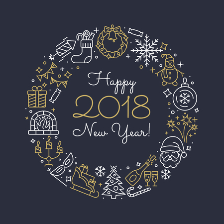New Year outline icons.  イラスト・ベクター素材