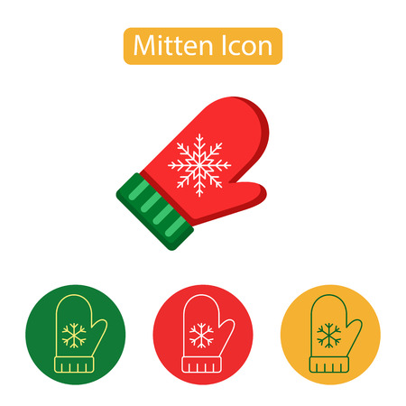 Mitten with snowflake icon. New Year Outline Pictogram Graphic for Web Design. Winter holidays vector illustration, flat style.